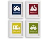 Emergency - Set of Four Emergency Response Trucks - Nursery Art, Word Association, Nursery Decor, Playroom Decor, Modern Kids Art, Trucks