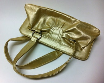 Vintage Gold Purse with Silver Hoop attached Straps