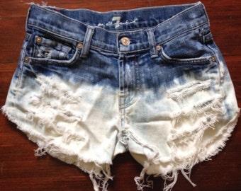 High Waisted Denim Shorts - Bleach Splatter, vintage distressed denim, xsmall - plus size