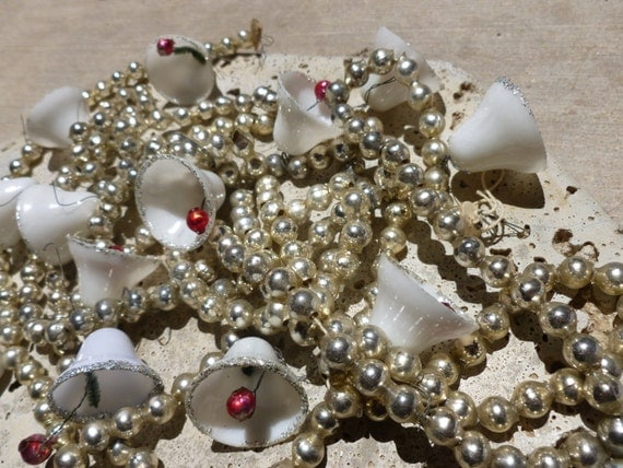 Vintage mercury glass silver beaded christmas tree garland