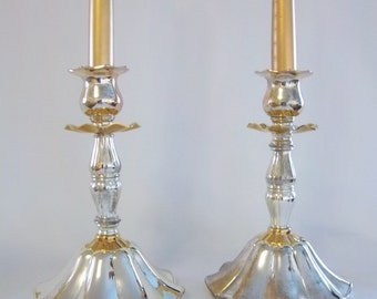 Silver and Gold Candlesticks Pair Hollywood Regency Vintage Home Decor