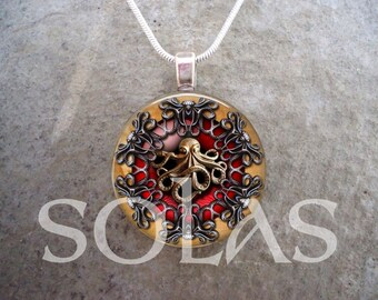 Steampunk Necklace - Glass Pendant Jewelry - Steampunk 1-20