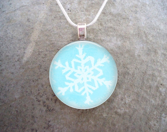 Snowflake Jewelry - Glass Pendant Necklace - Frozen Beauty 14 - RETIRING 2017