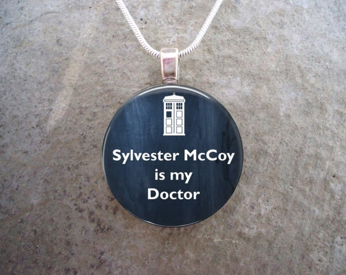 Doctor Who Jewelry - Sylvester McCoy is my Doctor - Glass Pendant Necklace - RETIRING 2017