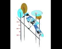 Bird, blue jay, Mid Century Modern inspired, 8x10 print, Charley Harper inspired, Retro bird, vintage modern, danish modern