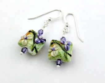 Lavender Purple and Cream Flower Artist Lampwork Glass Bead Earrings with Green and Orange