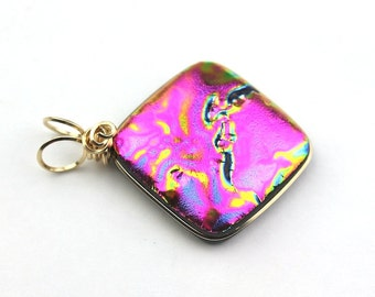 Dichroic Glass Pendant, Gold Filled Wire Wrapped Magenta Pink and Gold Metallic Look