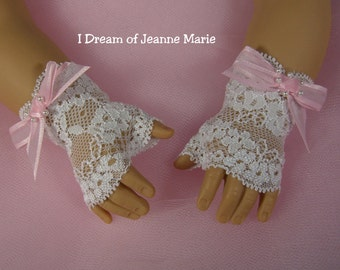 FINGERLESS LACE GLOVES for American Girl Dolls White with Pink Bows Easter Regency for Caroline  Elizabeth Felicity