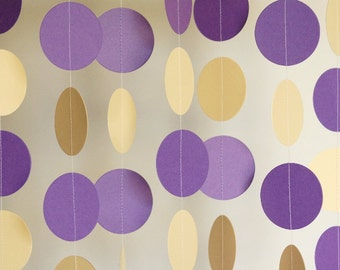 Purple & Ivory Paper Garland, Purple and Cream Wedding Decoration, Bridal Shower, Birthday, Baby Shower, 10 feet long
