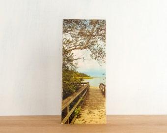 "Beach Boardwalk, Photo Art Block, Limited Edition, Image Transfer on 6""x14"" Wood Panel, 'Beach Path' by Patrick Lajoie, camping, beach photo"