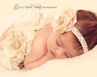 SET - Gorgeous Neutral Cream Ivory and Nude Tan Handmade Double Flower Sash Wedding Sash Pregnancy Maternity Sash and Baby Headband