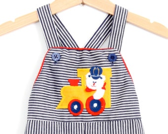 Vintage Health Tex Overall Dungarees in Striped Denim Train Theme 9 Months