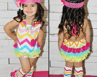 Rainbow Chevronheart Bubble Romper Baby Girl Toddler Girl