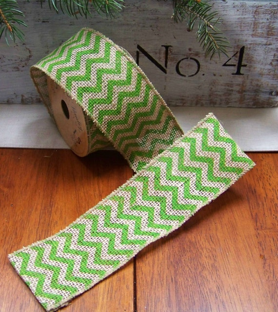 Shabby chic green chevron burlap ribbon trim for Green burlap ribbon