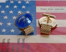 Mens Mesh Wrap Cufflinks Eagle Blue Glass 1960s Vintage