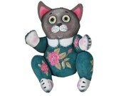 roses cat painted art doll