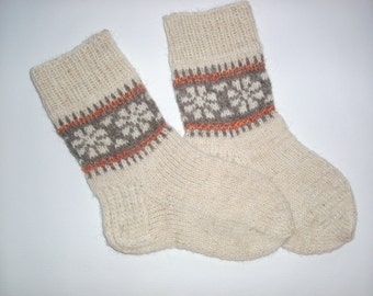 Hand Knitted Wool Socks -Patterned Womens Socks-Size S,M.L