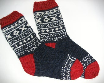 Hand Knitted Wool Socks - Colorful Wool Socks for Men -Mens Socks -Size Medium US 9,5-10,EU43/US11-EU44