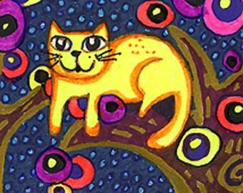 Cat Art Print, Cat Decor, Whimsical Animal Art, Cat Art, Yellow Cat Print, Childrens Room Decor,Treetop Cat by Paula DiLeo_129101