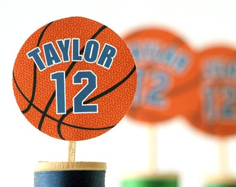 Personalized Basketball Cupcake Toppers