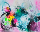 """16 x 20"""" Medium Size Contemporary Modern Abstract Giclée Print Rainbow Colorful Vibrant Yellow Pink Blue by Julie Robertson"""