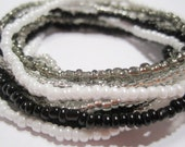 4 Sets of 3 Silver White Grey Black Stretch Bracelets, Black Grey White Silver Beaded Stretch Bracelets, Seed Bead Bracelet,  SB-4-50-63-98