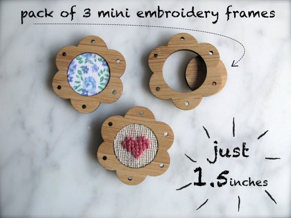 """Miniature embroidery frames - Pack of 3 x flower shape hoops - 1.5"""" inches in diameter - The world's smallest!"""