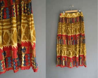 80s Indian Crinkle Cotton Gauze Skirt