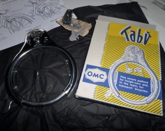 Vintage OMC Carwal Product Tabu Bike Lock in Original Box from 1950's