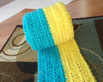 CLEARANCE Hand Crocheted Ukraine Scarf Flag with Fringe over 5 feet (1.5 Meters) long Handmade Ready to Ship Hetalia Cosplay Anime