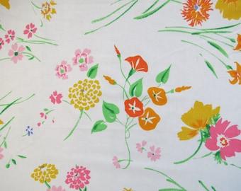 Vintage Sheet Fat Quarter Fabric - Pink Yellow Orange Floral