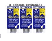 Graduation Tickets Editable Invites Print at Home Invitation or Announcement Instant Download
