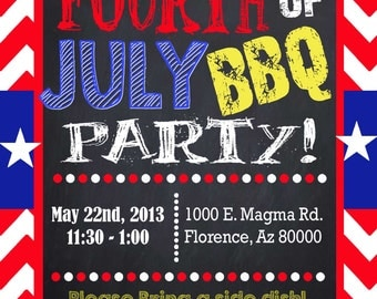 Fourth of July Chalkboard BBQ  Memorial Day Printable Invitation or Graduation Invitation Printable Party Invites Personalized