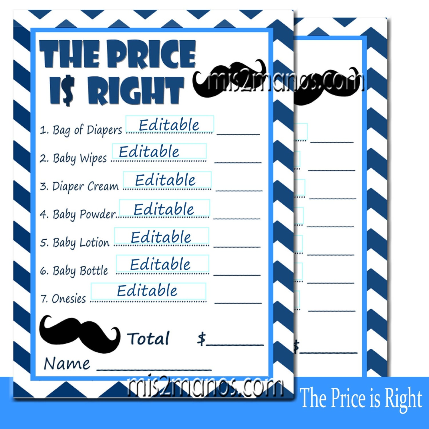 free printable price is right baby shower game template - editable price is right baby shower game blue mustache set