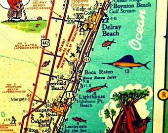 map art print DELRAY Boca Raton retro florida photo aqua yellow POMPANO Boynton Beach house vintage vacation picture wall decor Americana