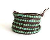 Turquoise Beaded Leather Wrap Bracelet - Turquoise Beads, Brown Leather - Western Bohemian