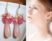 Fresh Water  Pearls Earrings, Rose Quartz  Earrings, Sterling Silver Earrings, Pink Topaz Earrings, Pink Gemstone Earrings - Sweet Dreams