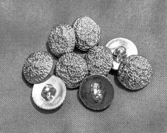 """28 Vintage 5/8"""" Silver Plastic Shank Buttons. Domed Design Resembles Small Gathered Chains. Thick, Strong Plastic, Well Made. Item 1402P"""