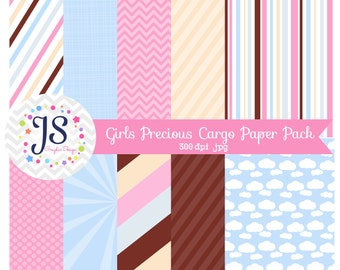 INSTANT DOWNLOAD, Vintage Precious Cargo backgrounds, girl baby shower digital paper, pink and blue, card making, invite design, scrapbook