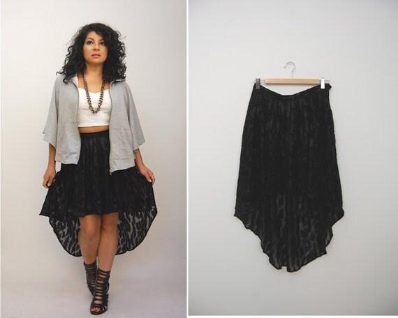 vintage 80 s high low hem skirt sheer leopard by hausofmirth