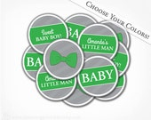 Bow Tie Baby Shower Cupcake Toppers - Choose Your Colors - PRINTABLE PDF File Party Circles - Boy Baby Shower - Bow Tie Collection