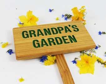 Grandpa's Garden, Personalized Garden Sign, Cedar Wood Sign: Hand Routed, Custom Name