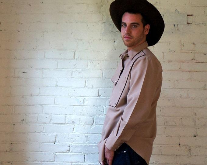 Retro Cowboy 1960s Vintage Shield Front Rodeo Shirt Large 17 Tan Pearl Snap Long Tail Western 60s Honky Tonk H Bar C California Ranchwear