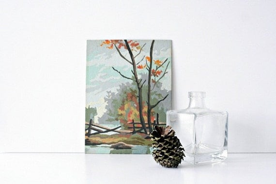 Vintage 1960's Paint By Number Landscape - 6x8 Nature Scene with ...