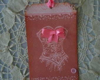 """Large """"Corset Chic""""  gift/decorative tag"""