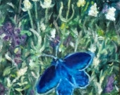 "Fine Art Print of my Original Oil Painting, Landscape Painting, Butterfly Painting 7 X 5 ""Karner Blue Butterfly"""