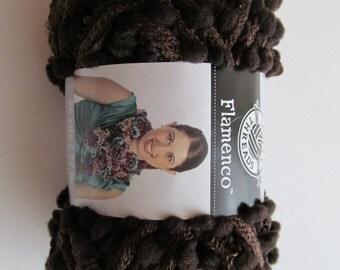 Flamenco Yarn by Loops and Threads PomPom Scarf Super Bulky Yarn Espresso Brown