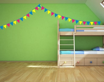 Tri Color Banner Flags Removable Vinyl Wall Art, banner bunting flags school colors kids room childrens wall art circus theme baby room