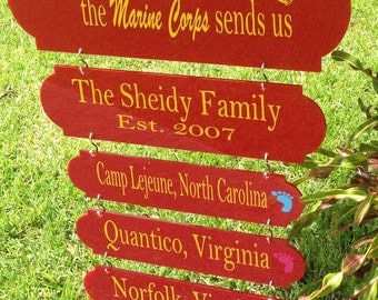 Home is where the marine corps  sends us, military duty station sign, Home is where,military, Army, Air Force, Marines,duty station board