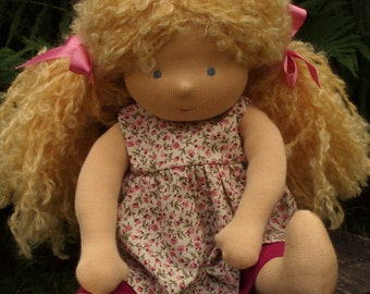 """Waldorf Doll Blond 14"""" Tall, blond, blue eyes, Polly ( made to order )"""